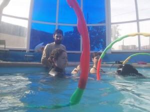 terapia con animales en piscina