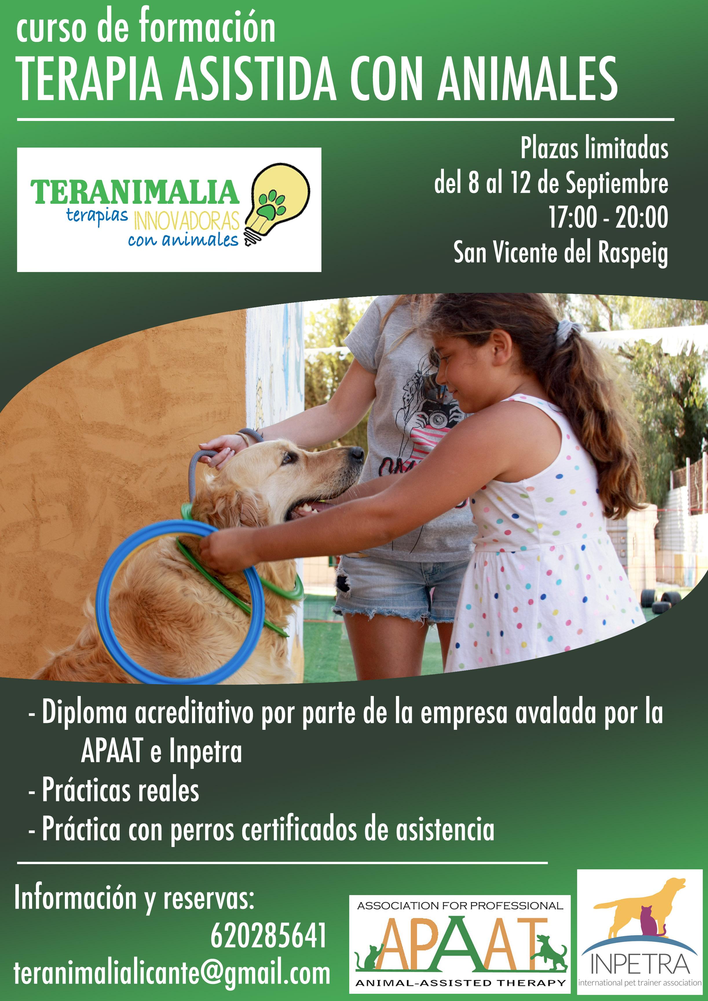 Curso de terapia asistida con animales en alicante
